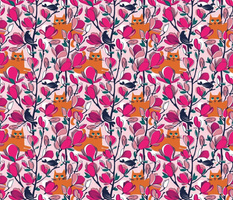 Small scale // Hello Spring! // pastel pink background orange tabby cat fuchsia pink Magnolia full bloom oxford blue branches birds and lines