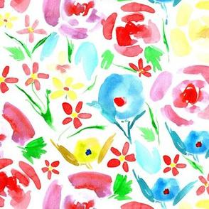 primavera florals - vibrant watercolor flowers - painted colorful floral a158-1