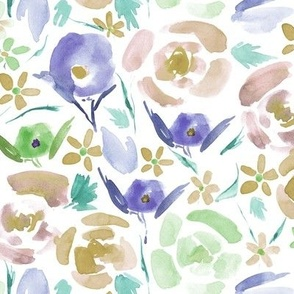 primavera florals - mustard and amethyst vibrant watercolor flowers - painted colorful floral a158-2