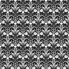 Peace Out Damask- black and white- small