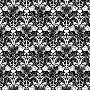 Peace Out Damask- black and white- medium