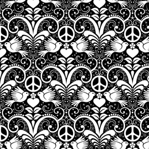 Peace Out Damask- black and white- large