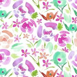 primavera florals - vibrant watercolor flowers - painted colorful floral a158-4