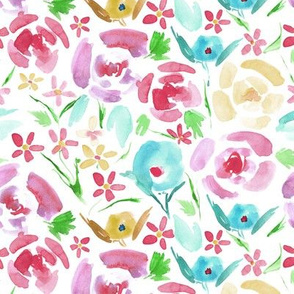 rose primavera florals - vibrant watercolor flowers - painted colorful floral a158-5