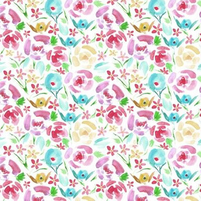 Small scale primavera florals - vibrant watercolor flowers - painted colorful floral a158-5