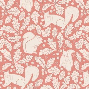 Acorns Oak Leaves Squirrels in Dusty Pink Mauve