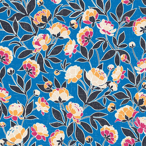 Batik peonies french blue
