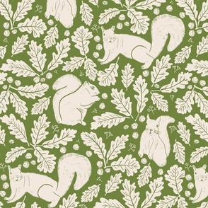 Squirrels Oak Leaves and Acorns on Vibrant Green