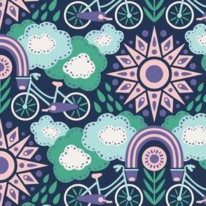 Bicycles + Rainbows Medium Scale Purple Green Pink Blue