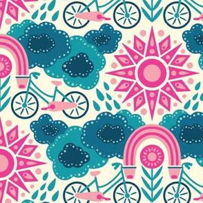 Bicycles + Rainbows Medium Scale Bright Pink Blue