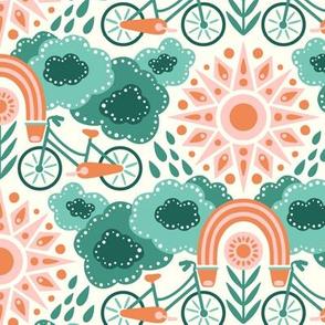 Bicycles + Rainbows Medium Scale Teal Orange