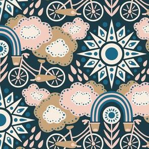 Bicycles + Rainbows Medium Scale Navy Blush