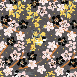 Cherry Forsythia Garden M+M Chia by Friztin