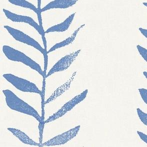 Botanical Block Print, Indigo Blue on Cream (xxxl scale)   Leaf pattern fabric from original block print, coastal decor, plant fabric, kelp seaweed, warm white and blue.