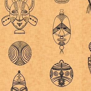 african masks brown-linen