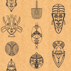 african masks linen texture