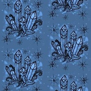 Crystals on Blue Watercolor