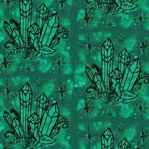 Crystals on Green Watercolor
