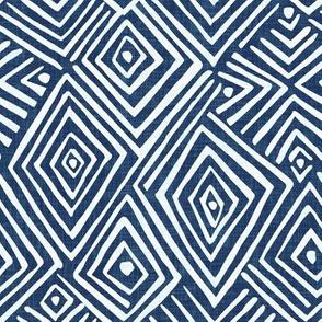 diamond mud cloth afro chic blue linen