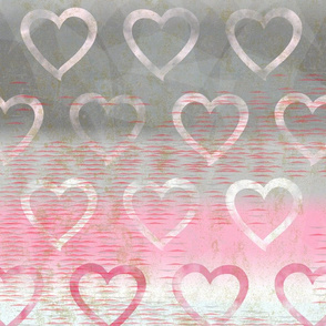Demigirl Heart Pride - Demigirl Pride Flag Colors with White and Pink Hearts - Full Scale (150dpi)