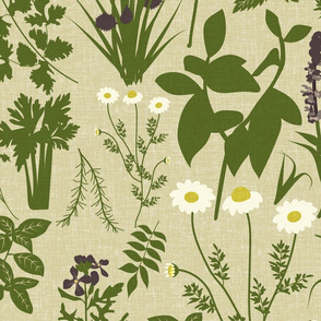 Herbology- Herbs of the World- Lime Green on Eggshell Linen Texture- Large Scale