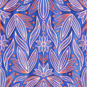 Rococo Cobalt & Coral Art Deco - Large Scale