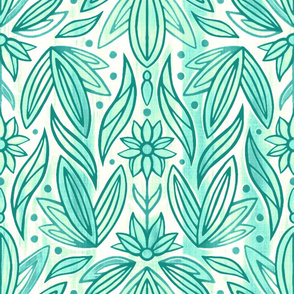 Rococo Teal Mint Art Deco - Large Scale