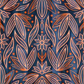 Rococo Navy & Orange Art Deco - Large Scale