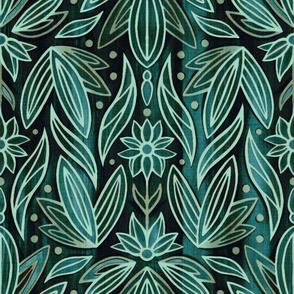 Rococo Sage & Dark Green Art Deco - Large Scale