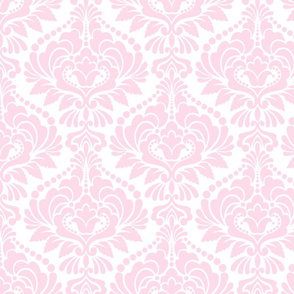 Light Pink and  White Damask Large