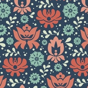 Folksy Florals Coral and Blue