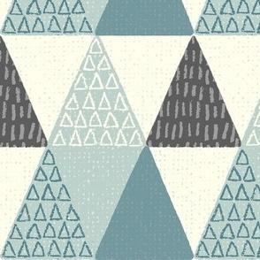 Rustic Triangle - Mod Geometric - Textured Teal Jumbo Scale
