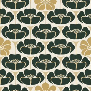 1920s Flora l - Large - Evergreen, Gold