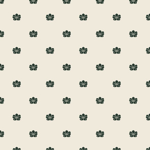 Floral Sparse - Small - Evergreen, Cream