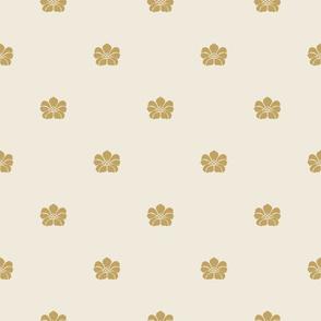 Floral Sparse - Medium - Gold, Cream