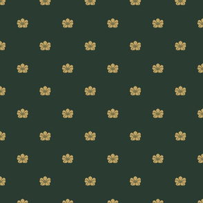 Floral Sparse - Small - Gold, Evergreen