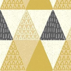 Rustic Triangle - Mod Geometric - Textured Yellow Jumbo Scale