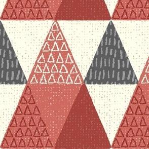 Rustic Triangle - Mod Geometric - Textured Red Jumbo Scale