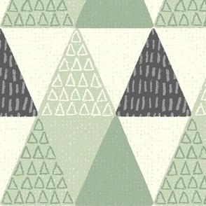 Rustic Triangle - Mod Geometric - Textured Light Green Jumbo Scale