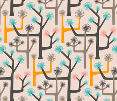 Joshua Tree Desert Retro Abstract Botanical in Gray Pink Turquoise Yellow  - LARGE Scale - UnBlink Studio by Jackie Tahara