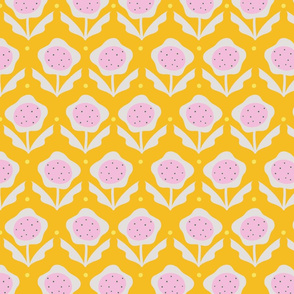 Pink Ditsy Retro Flower (yellow background)