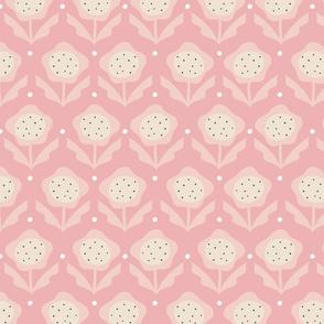 Pink Ditsy Retro Flower
