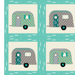 Cheater Quilt, Fill-a-Yard - Airstreams Blue Grey