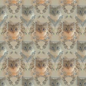 Medium Damask of Cats in Golden Beige