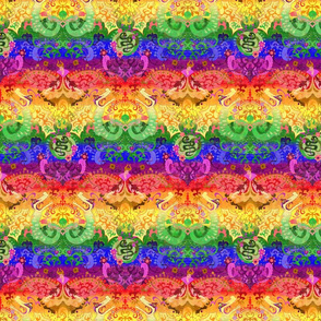 Rainbow Dragon Damask - SMALL SCALE- Gay Rainbow Pride Flag Colors - Carnival Devil Butterfly Snake for Party, Prom, home decor