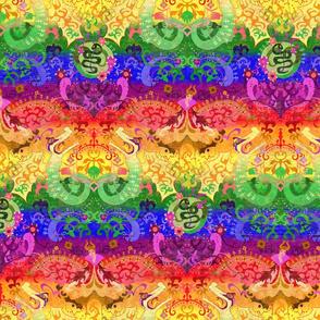 Very Rainbow! Rainbow Dragon - MED Scale - Rainbow Damask