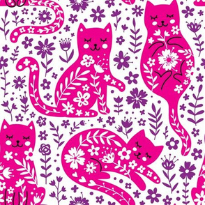 pink cat and flowers