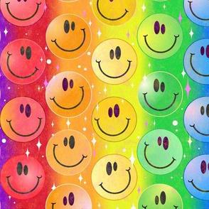 Very Rainbow! Rainbow Smiley Face Smileys!  MEDIUM scale