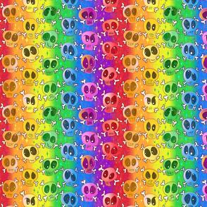 Very Rainbow! Skulls in Rainbow Colors over Skeleton Bones and Bright Rainbows - Bright Rainbow Skull Gay Pride Flag -- 485dpi (31% of full scale)