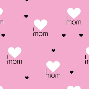 I love mom sweet hearts mother's day design with hearts and text